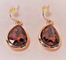 PAIR OF PEAR-SHAPED AMETHYST CRYSTALS GOLD-PLATED DANGLE PIERCED EARRINGS
