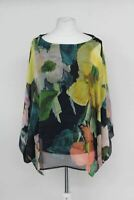 PHASE EIGHT Ladies Multi-Coloured Floral Print Azana Silk Blouse Small NEW