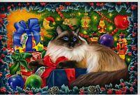 CAT ART Cute Kitty Christmas Tree Gifts by Garmashova NEW Russian Postcard