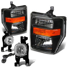 BLACK HEADLIGHT+AMBER CORNER SIDE+CHROME FOG LIGHT+SWITCH FOR 08-10 SUPERDUTY