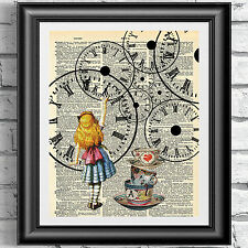 Alice in Wonderland Original Art Print Wall Decor on Antique Page DICTIONARY