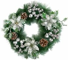 Christmas Glitter Wreath Decoration Interwoven with Pine Berries Flowers 35cm