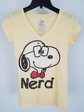Peanuts Snoopy Nerd T-Shirt Bright Yellow Jersey Tee V-Neck Womens Size S