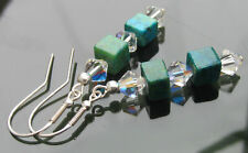 Chrysocolla beads earrings 925 SILVER EARRINGS made with Swarovski Elements