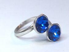 Cristal Azul Anillo Swarovski Elements Silver Plated ZAFIRO ajustable