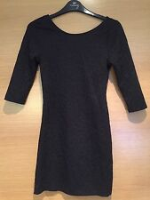Size 8 Little Black Dress Fitted Mini Bodycon Pattern 3/4 Sleeve