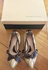 Alessandro Dell Acqua Brown Tan Flat Pointy Womens Kitten Heel Shoes 36.5