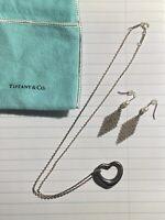 """TIFFANY & Co. Peretti Silver 925  Heart Diamond Pendant Necklace & Pearl Mesh 2"""""""