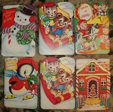 Vintage '50's 6 Unused Children's Die Cut Christmas Card Lot, W/ Box & Envelopes