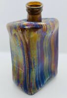 Vintage Melted Glass Iridescent Bottle Sculpture