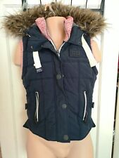 Superdry Mens Womens Bodywarmer Gilet Mountaineer Edition Faux Fur Hood XS #O
