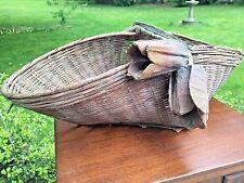 Antique Primitive Gathering Decorated Basket with Papier Mache Flowers AAFA