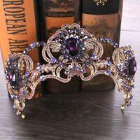 CA Baroque Purple Flower Crystal Crown Tiara Bridal Headband Women Wedding