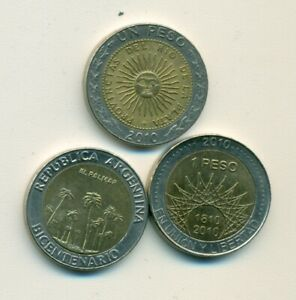 3 BI-METAL 1 PESO COINS from ARGENTINA - ALL DATING 2010 (3 TYPES)..Lot #1