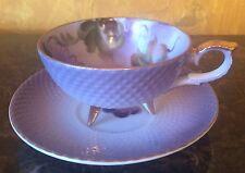 Vintage Lefton Hand Painted China Tea Cup & Saucer Fruit Purple #20327