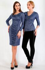 Damen-Stylisches-Jersey-Kleid mit Lurex von LISSA Blau Gr.XS/36 Viskose