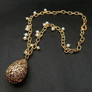 19'' White Pearl Yellow Gold Plated Chain Necklace CZ Pave Teardrop Pendant
