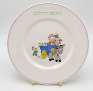 Mabel Lucie Attwell Nurseryware Plate Shelley China A Very Lucky Fairy Band