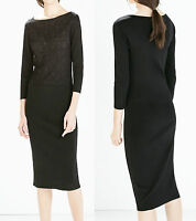 ZARA Black Knit Long Sleeve Front Lace Dress S / M Formal Casual Evening Party