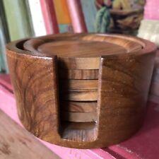 More details for 6 vintage 1980's tiki bar wooden vintage drink coasters stacking pot boho retro
