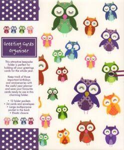 Owls, Greeting Card Organiser (Hardback) NEW
