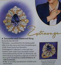 FRANKLIN MINT RING 40 DIAMONDS 1K TANZANITE 14K GOLD SIZE 8 NEW COST $2900 1999