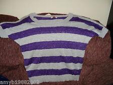 L.e.i. Purple Siren Striped Short Sleeve Sweater Size XXL Women's NEW