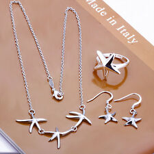 925Sterling Silver Jewelry Lovely Starfish Necklace Earrings Ring Set S175