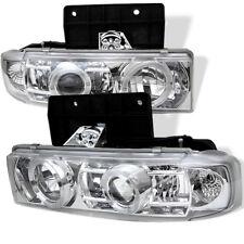 Chevy 95-05 Astro Chrome Dual Halo LED Projector Headlights Lamp GMC Safari