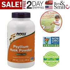 NOW Psyllium Husk Powder Organic Foods 12 Oz Fiber Source Certified No GMO Diet