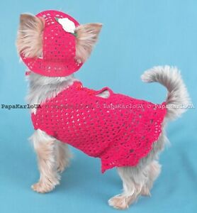 Dog hat dress set Outfit clothes , dog dress size XXS Yorkshire Terrier Clothes