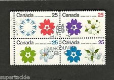 1970 Canada SC #511a Japan Expo '70 Flowers Θ used block