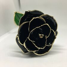 Black Genuine Rose Preserved Dipped in 24K Gold Rose Gifts for Valentine's Day