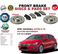 FOR VAUXHALL OPEL ASTRA K HATCHBACK 2015- 276MM FRONT BRAKE DISCS SET + PADS KIT