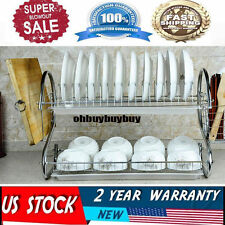 Stainless Kitchen Dish Cup Drying Rack Holder Sink Drainer 2 Tier Dryer US WP