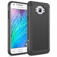 Beyond Cell Dual Layer Hybrid Kickstand Case Bundle with Screen Protector Cheetah J700P, J700T, J700 Atom LED Compatible with Samsung Galaxy J7 Tempered Glass