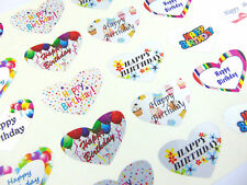 Happy Birthday Heart Greeting Stickers Silver Self-stick Labels for Cards Enve