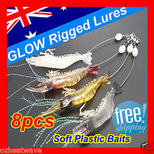 8x GLOW Rigged Prawn Shrimp Fishing Lures Soft Plastic Baits Lure Flathead Bream