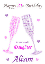 Word Art Champagne Glasses personalised A5 birthday card - ANY Age Relation Name