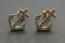 14K Solid Yellow Gold Safety Screw Back Anchor Cz Earrings!!