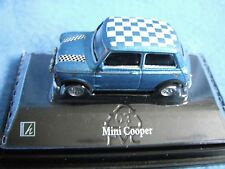 "Cararama Mini Cooper 1/72 1.7"" Diecast Rally Car Mint Blue with Check Roof  NOS"