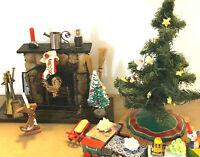 Lot Dollhouse Vintage Miniatures CHRISTMAS LOT Tree Toys Stone Fireplace