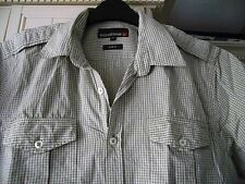 DUCK & COVER  - GREY/BLUE CHECK SHORT SLEEVED SHIRT - SIZE M