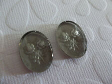 Black Diamond Two Rose Glass Cabochons 18X13mm Reverse Carved Intaglio Cameos