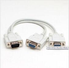 VGA SVGA Monitor Stecker auf 2 Dual Female Y Adapter Splitter Kabel 15 1I YR