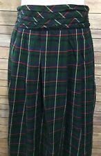 Vintage TALBOTS Green Plaid Long Skirt Pleated Elastic Waist Sz 10