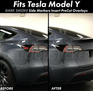 SMOKE Side Markers Rear Overlay Vinyl Tint Decal Smoked Precut For Tesla Model Y