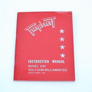 Triplett Model 630 Instruction Manual volt-ohm-milliammeter