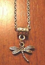 collier chaine argenté 46,5 cm avec pendentif libellule 15x13 mm