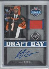 A.J. GREEN 2011 LIMITED DRAFT DAY HAT SWATCH RELIC ROOKIE AUTO RC #D 1/5